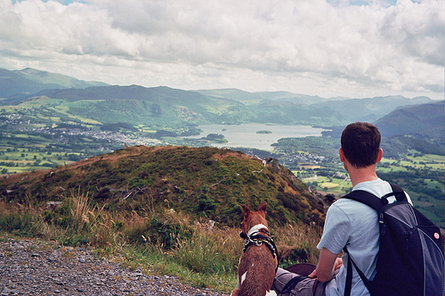 Richard and Skitters look down over Derwentwater