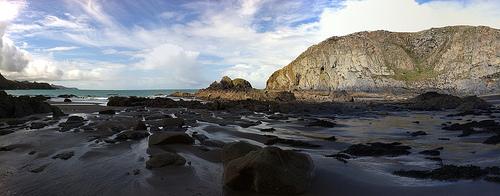 Panorama of beautiful beach at Traeth Llyfn, Pembrokeshire