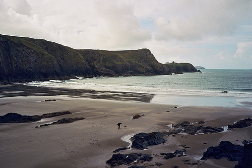 Richard and Skitters on the beautiful Traeth Llyfn beach
