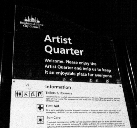 Sign at the Artist Quarter at the Brighton seafront