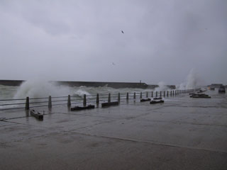Sea breaking at West Beach, Newhaven