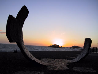 Sunset through Brighton Beach Sculpture